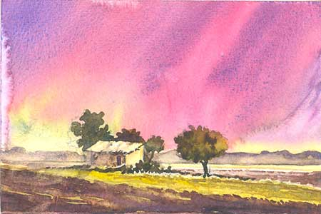 Farm near Highway by Rizwan Ajmerwala, Watercolour on Paper