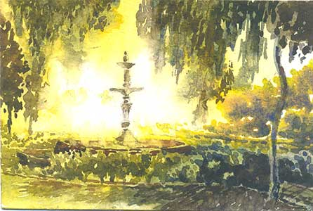 Parimal Garden Fountain by Rizwan Ajmerwala, Watercolour on Paper