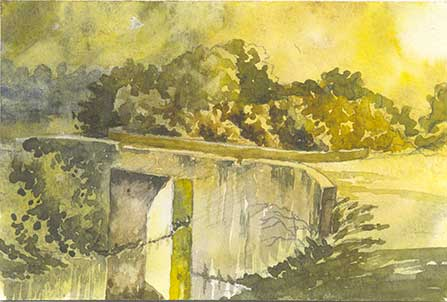 Bridge on small Canal by Rizwan Ajmerwala, Watercolour on Paper