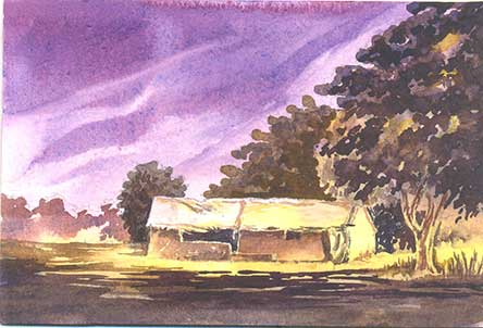 River front house 1 by Rizwan Ajmerwala, Watercolour on Paper