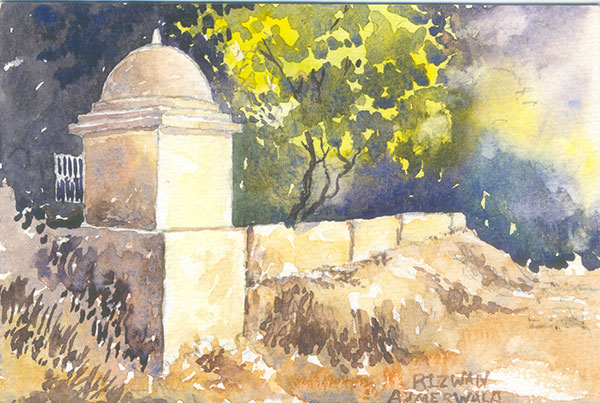 Temple In Bopal by Rizwan Ajmerwala, Watercolour on Paper
