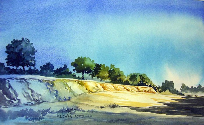 Riverfront Sabarmati by Rizwan Ajmerwala, Watercolour on Paper