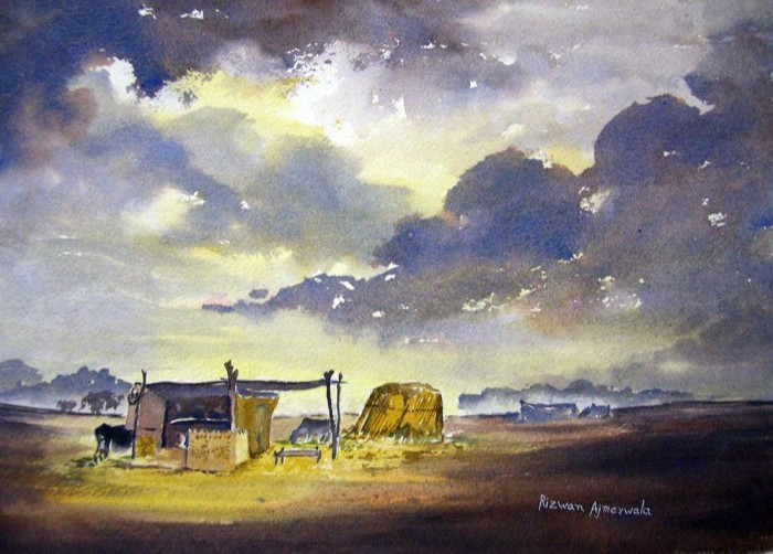 Hut near Nal Lake by Rizwan Ajmerwala, Watercolour on Paper
