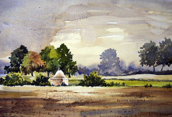 Temple in the Field by Rizwan Ajmerwala, Watercolour on Paper