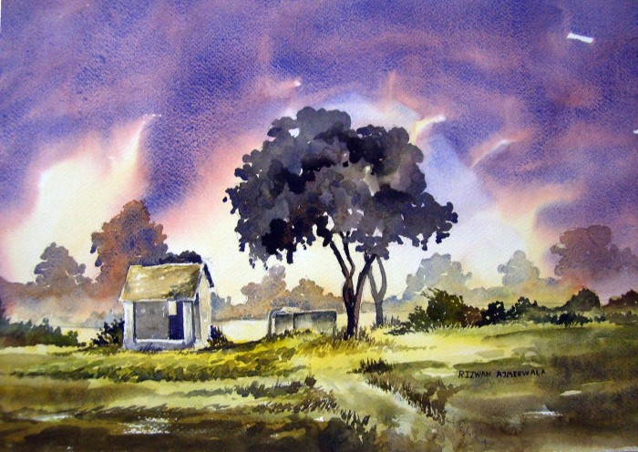 Road Side of Vasna by Rizwan Ajmerwala, Watercolour on Paper