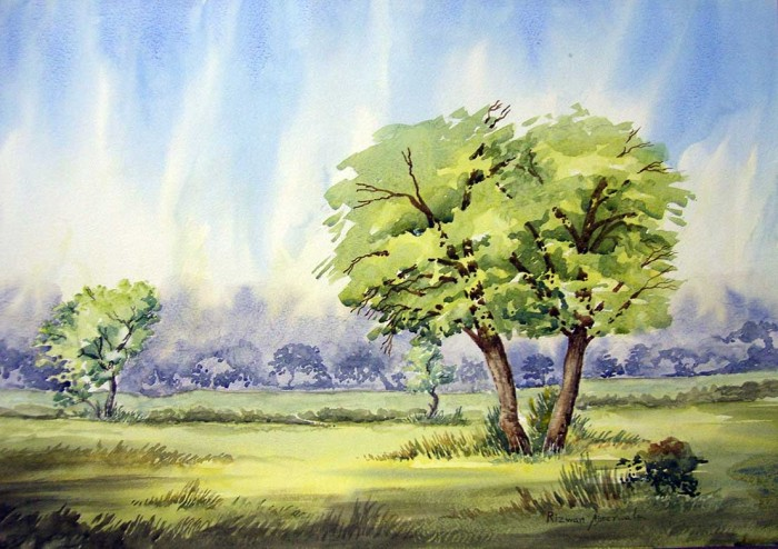 A view from S G Road by Rizwan Ajmerwala, Watercolour on Paper