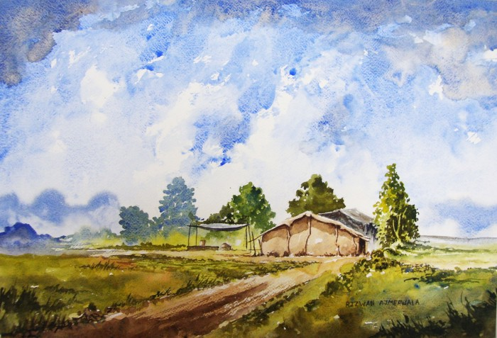 Riverside Farm by Rizwan Ajmerwala, Watercolour on Paper