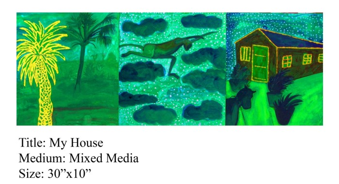 my house by Rollie Mukherjee, mixed media on paper
