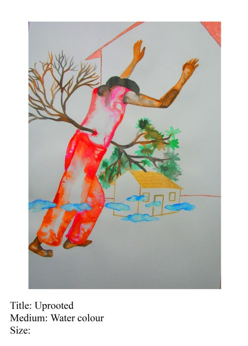 uprooted by Rollie Mukherjee, water colour on paper