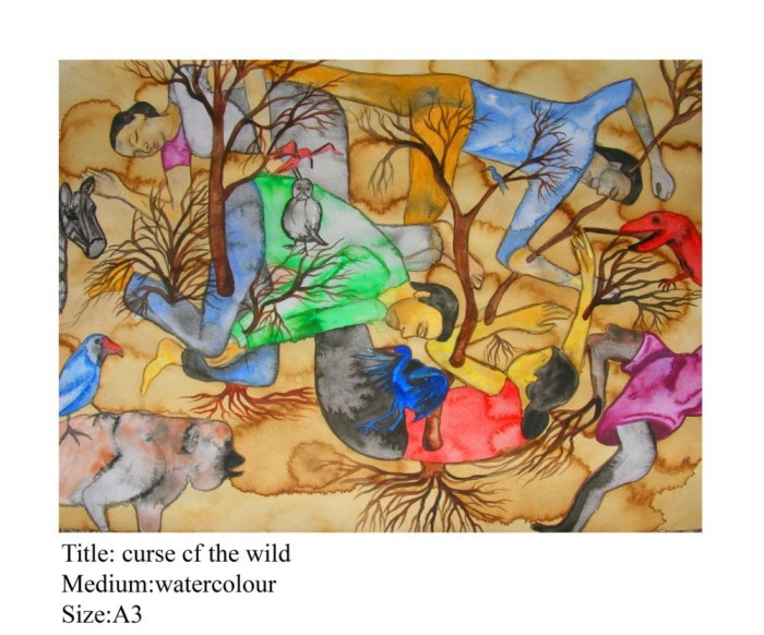 CURSE OF WILD by Rollie Mukherjee, WATER COLOUR on PAPER