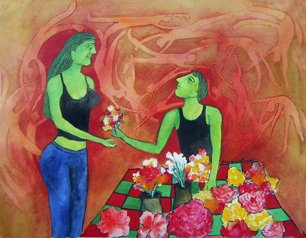 The Flower Seller by Sambuddha Duttagupta, Acrylic on paper on Handmade paper