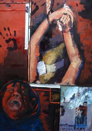 stop human disaster war by Sehrish Ch, oil on canvas on