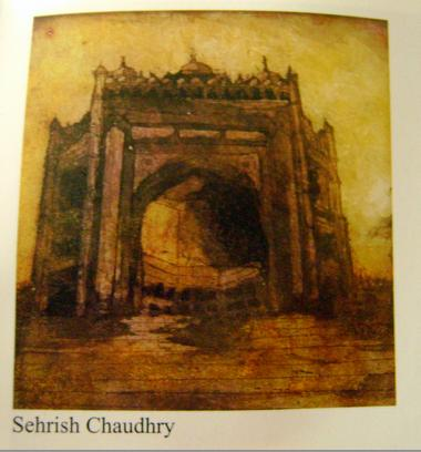 architecture by Sehrish Ch, aquatint print on