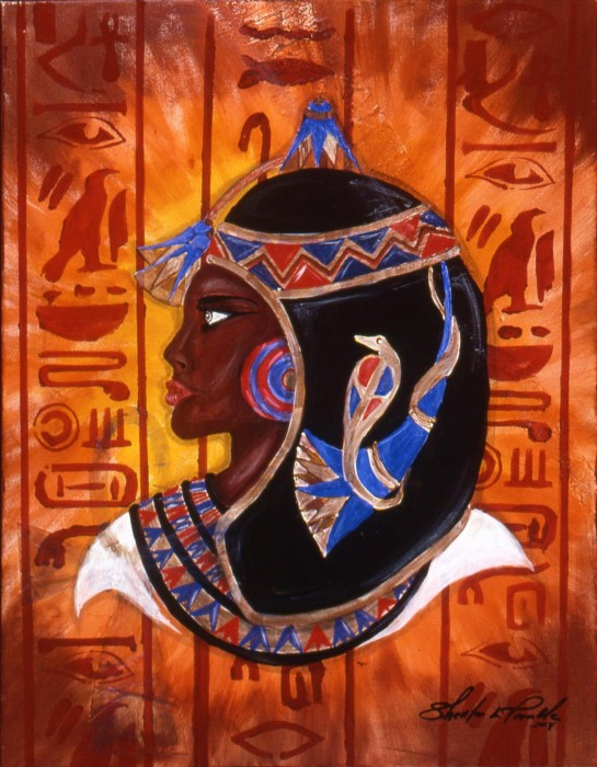 Egyptian in Vogue - Cleopatra by Shellton Tremble, Mix Media on Canvas