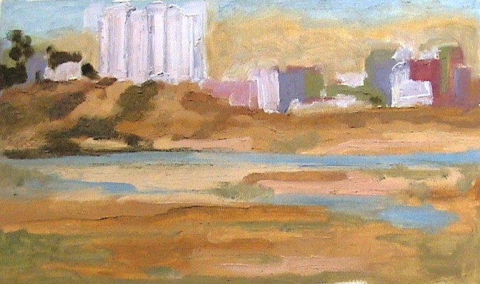 landscape by Shrinivas Agawane, oil on oil paper