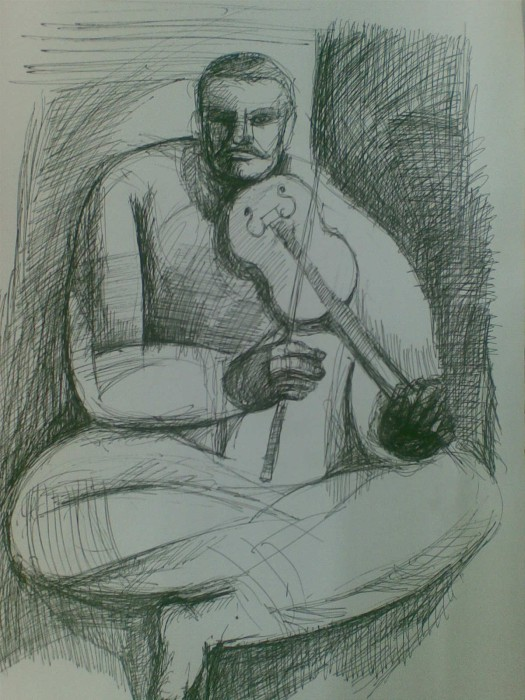 Man with Violin by Subhashis Bhattacharya, Ink on Paper