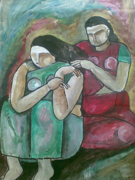 Sitting Together by Subhashis Bhattacharya, Acrylic on Paper