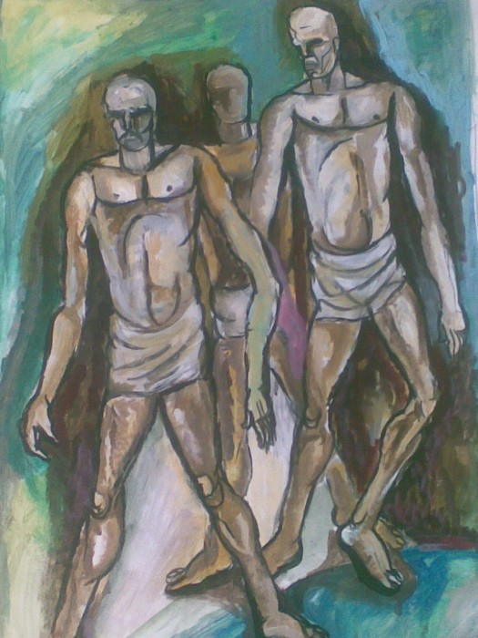 Ancient Men by Subhashis Bhattacharya, Acrylic on Paper
