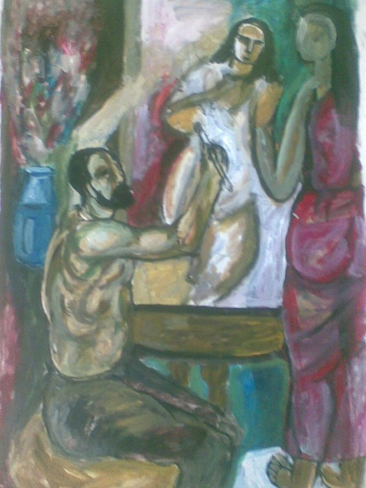 An Artist by Subhashis Bhattacharya, Acrylic on Paper