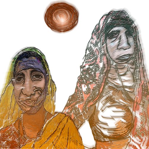 Two Women in Sun by Tripti Singh, Digital on Linen Canvas