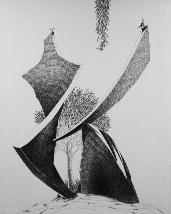 Living on the Edge by Umakant Kanade, Pen & Ink on Canvas