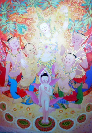 The Buddha's Birth 2 by Utain S. by Yani Artgalleries, Acrylic on Canvas